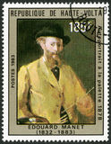 UPPER VOLTA - 1983: shows Self-portrait at the palette, by Manet, 1878 Royalty Free Stock Images