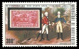 Surrender of Burgoyne at Saratoga. Upper Volta - stamp 1975: Color edition on American Bicentennial Art, shows US Stamp and Surrender of Burgoyne at Saratoga Royalty Free Stock Photos