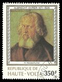 Hans Holzschuher by Albrecht Durer. Upper Volta - stamp 1978: Color edition on Art, shows Painting Hans Holzschuher by Albrecht Durer Stock Photos