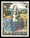 Painting Virgin with Child by David. Upper Volta - stamp 1973: Edition on Biblical motifs, shows Painting Virgin with Child by David Stock Illustration