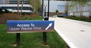 Upper Wacker Drive Sign Royalty Free Stock Photo
