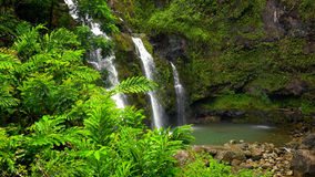 Upper Waikani Falls Along the Road to Hana in Maui Stock Photo