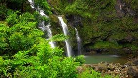 Upper Waikani Falls Along the Road to Hana in Maui Stock Photo