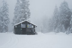 Upper warm up hut on Cypress Mountain. Upper warm up hut for people snowshoing and cross country skiing  on Cypress Mountain Stock Photos