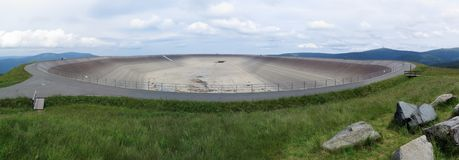 Upper water reservoir of power plant Dlouhe strane in Jeseniky in Czech republic Royalty Free Stock Photo