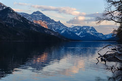 Upper Waterton lake scenic view and glaciers Stock Photo