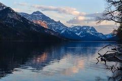 Upper Waterton lake scenic view and glaciers Stock Photo