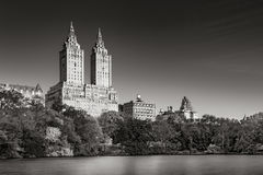 Upper West Side and Central Park Lake sunrise in Black & White. New York Royalty Free Stock Photo