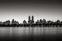 Upper West Side and Central Park at twilight, New York Black & White Royalty Free Stock Photos