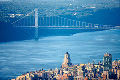Upper West Side with George Washington Bridge and Hudson River royalty free stock image