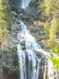 Upper Whitewater Falls in North Carolina. Upper Whitewater Falls on the Whitewater River in the Jocassee Gorge drops an impressive 411 feet making it the highest stock photo