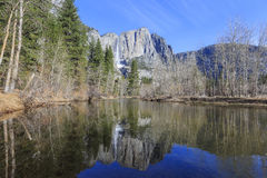 Upper Yosemite Fall with big icy drops and great reflection Royalty Free Stock Photos