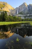 Upper Yosemite Fall in Spring. Reflection of Upper Yosemite Fall in spring Royalty Free Stock Photography