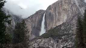 Upper Yosemite Falls With Clouds Sped Up stock footage