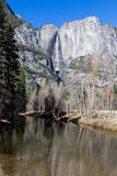 Upper Yosemite Falls from the river Royalty Free Stock Photography