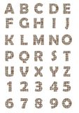 The uppercase alphabet and numbers in mosaic design. The decorative uppercase alphabet and numbers in mosaic design Stock Photography