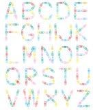 Uppercase bokstäver för alfabetPaperclips Arkivfoton