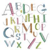 Uppercase bokstäver för svart färgrikt alfabet Arkivfoto