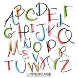 Uppercase bokstäver för svart färgrikt alfabet Hand dragen skriftlig intelligens Fotografering för Bildbyråer