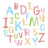 Uppercase bokstäver för svart färgrikt alfabet Hand dragen skriftlig intelligens Arkivbild
