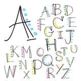 Uppercase bokstäver för svart färgrikt alfabet Hand dragen skriftlig intelligens Royaltyfri Fotografi