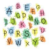 Uppercase bokstäver för svart färgrikt alfabet Hand dragen skriftlig intelligens Royaltyfria Bilder