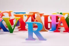 Uppercase english letters on white background. Colorful uppercase english letters on white background stock image