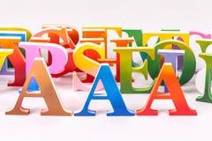 Uppercase english letters on white background. Colorful uppercase english letters on white background royalty free stock image