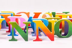 Uppercase english letters on white background. Colorful uppercase english letters on white background stock photos