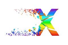 Uppercase iridescente quebrado quebrado da letra X do alfabeto Fonte esmagada do arco-íris 3d rendem isolado no fundo branco Ilustração do Vetor