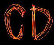 Uppercase laser alphabet - capital letter c and d Royalty Free Stock Photo