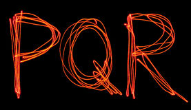 Uppercase laser alphabet - capital letter p, q and r Stock Image