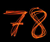 Uppercase laser alphabet - capital number 7 and 8 Royalty Free Stock Photography