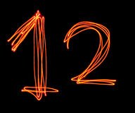 Uppercase laser alphabet - capital number 1 and 2 Stock Images