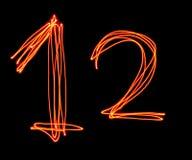 Uppercase laserowy abecadło - kapitał liczba 1, 2 i Obrazy Stock