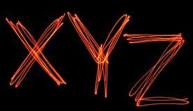 Uppercase laserowy abecadło - kapitałowy list x, y i z, Zdjęcie Stock