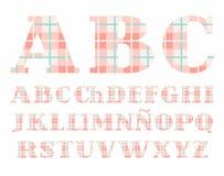 Spanish alphabet, font, plaid, pink, vector. Stock Images