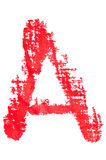 Uppercase lipstick alphabet - capital letter A. Isolated uppercase letter A made of red lipstick with fabric texture Stock Images