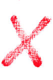 Uppercase lipstick alphabet - capital letter X. Isolated uppercase letter X made of red lipstick with fabric texture Stock Images
