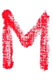 Uppercase lipstick alphabet - capital letter M. Isolated uppercase letter M made of red lipstick with fabric texture Royalty Free Stock Photos