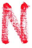 Uppercase lipstick alphabet - capital letter N. Isolated uppercase letter N made of red lipstick with fabric texture Stock Photo