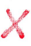 Uppercase lipstick alphabet - capital letter X Stock Images