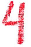 Uppercase lipstick alphabet - capital number 4. Isolated uppercase number 4 made of red lipstick with fabric texture Stock Photos