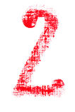 Uppercase lipstick alphabet - capital number 2. Isolated uppercase number 2 made of red lipstick with fabric texture Stock Photos