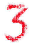 Uppercase lipstick alphabet - capital number 3. Isolated uppercase number 3 made of red lipstick with fabric texture Royalty Free Stock Photography