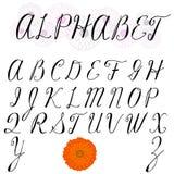 Uppercase stilsort Stora bokstäver Handskriven stilsort Arkivfoto