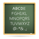 Uppercase twenty six letters of English alphabet. Vector illustration: uppercase twenty six letters of English alphabet, white chalk handwriting on blackboard royalty free illustration
