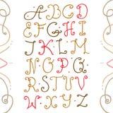 Uppercase vintage font. Vector illustration Stock Photo