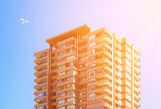Upperclass high-rise apartment building. On the sky background stock image