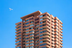 Upperclass high-rise apartment building. On the sky background royalty free stock photography